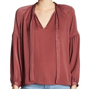 Lucky Brand Peasant Sleeve with Tie Neck Detail